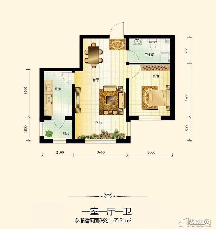 宇光万和城3号楼户型图1室1厅1卫1厨