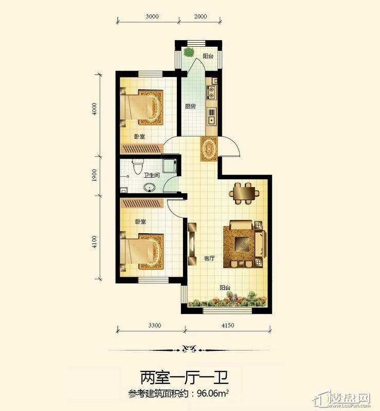 宇光万和城3号楼户型图2室1厅1卫1厨