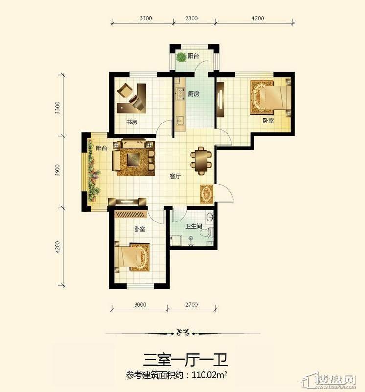 宇光万和城3号楼户型图3室1厅1卫1厨
