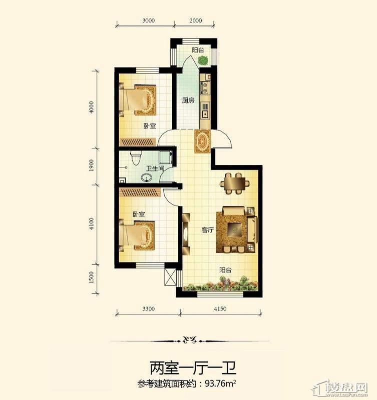 宇光万和城12号楼户型图2室1厅1卫1厨