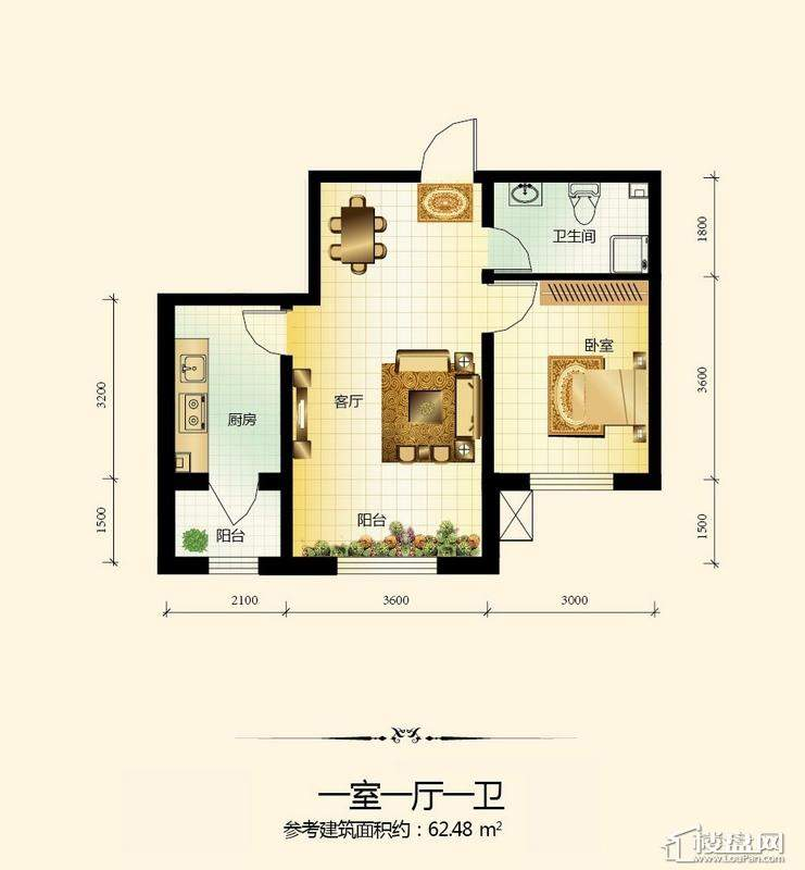 宇光万和城17号楼户型图1室1厅1卫1厨
