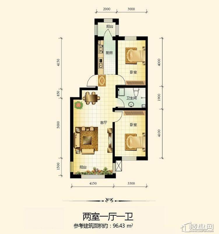 宇光万和城23号楼户型图2室1厅1卫1厨