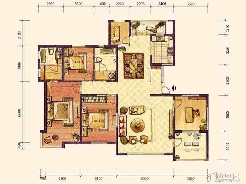 A1户型4室2厅2卫1厨