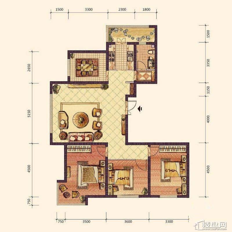 B1户型3室2厅1卫1厨