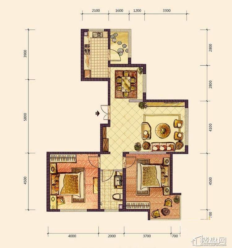 B3户型2室2厅1卫1厨