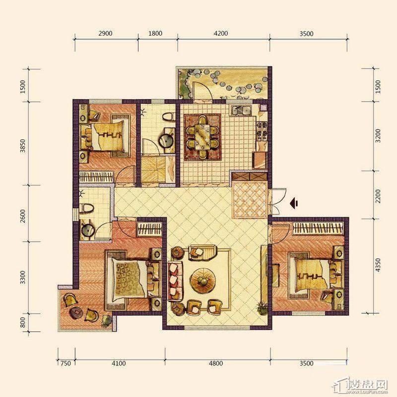 E1户型3室2厅2卫1厨