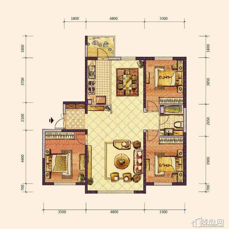 F2户型3室2厅1卫1厨