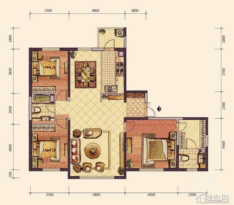 F3户型3室2厅2卫1厨