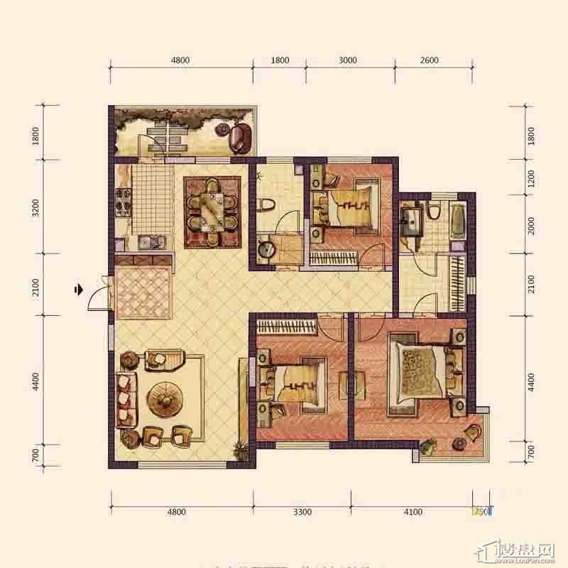 F4户型3室2厅2卫1厨