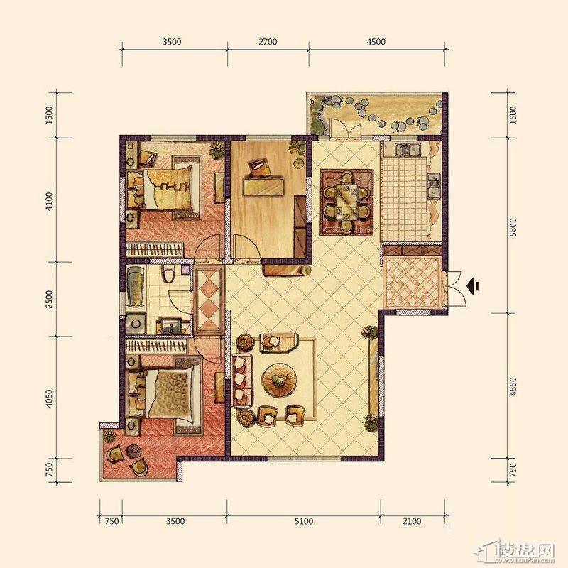 G、H1户型3室2厅1卫1厨