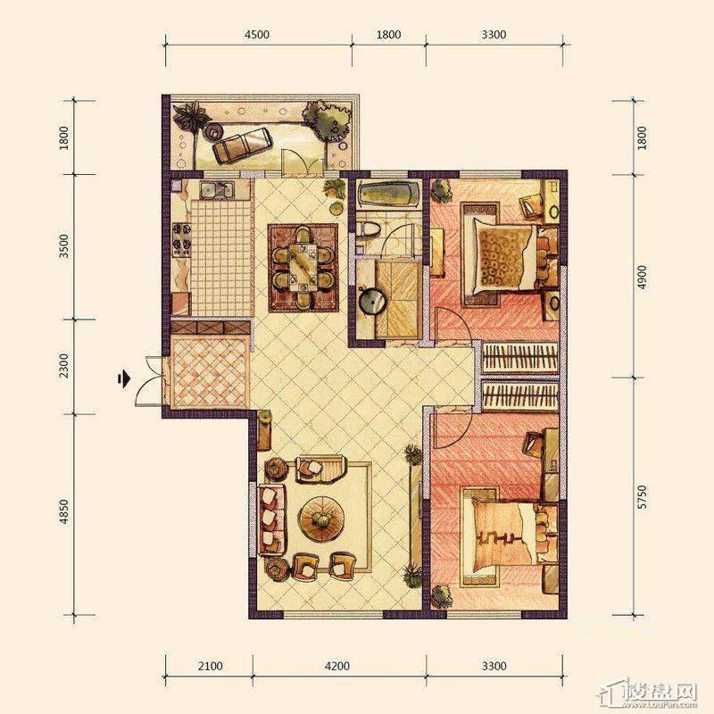 G、H3户型2室2厅1卫1厨