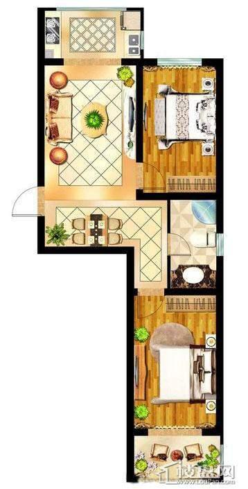 会展壹号A户型约70-78㎡二室二厅一卫2室2厅1卫