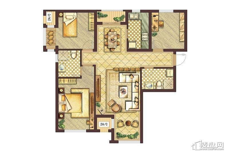 会展城上城A1户型图3室2厅2卫1厨
