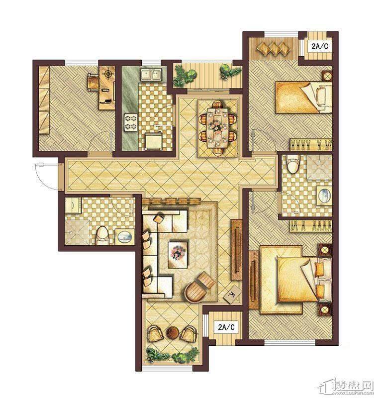 会展城上城A3户型图3室2厅2卫1厨