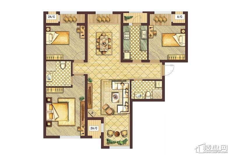 会展城上城C1户型图3室2厅2卫1厨