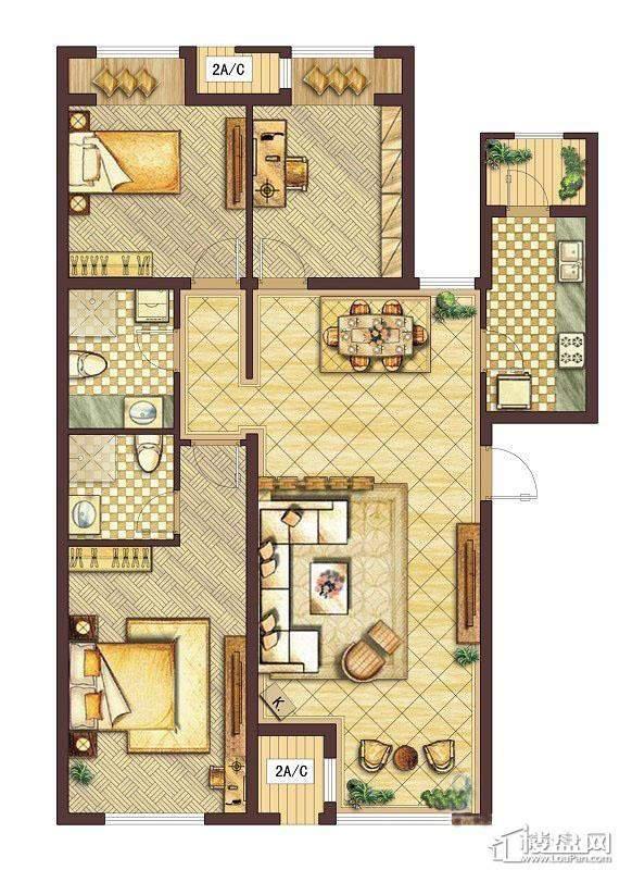 会展城上城D1户型图3室2厅2卫1厨