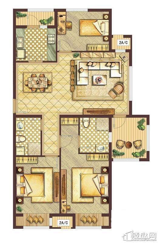会展城上城D3户型图3室2厅2卫1厨