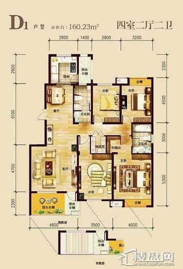 中兴·和园D1户型图4室2厅2卫