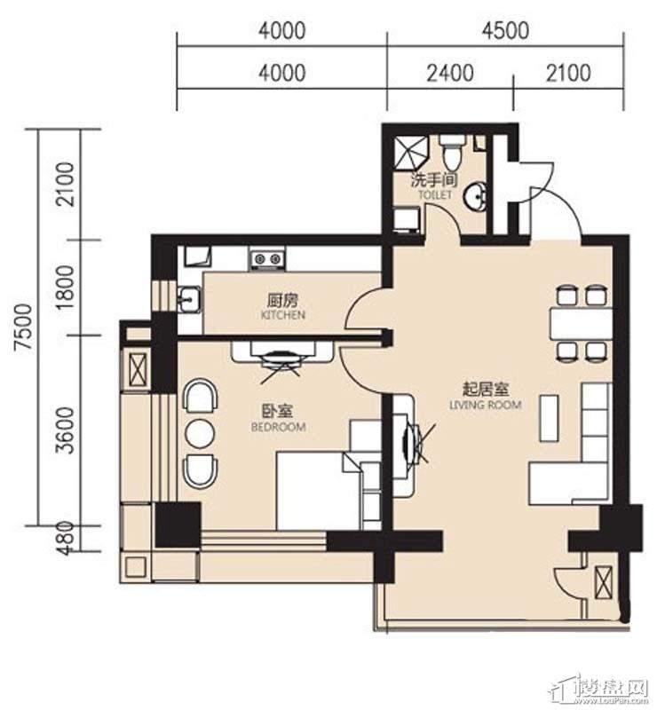 曙光大厦F户型1室1厅1卫1厨
