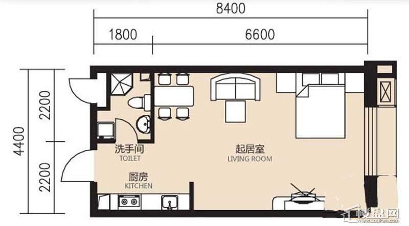 曙光大厦A户型1室1厅1卫1厨