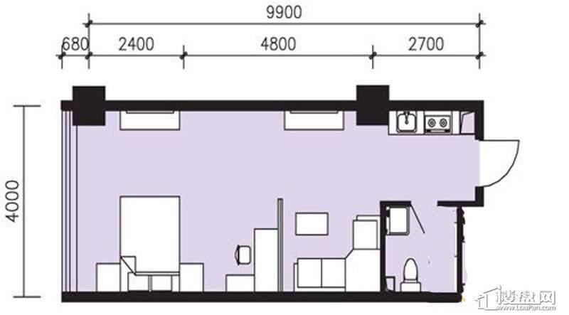 曙光大厦C户型1室1厅1卫1厨