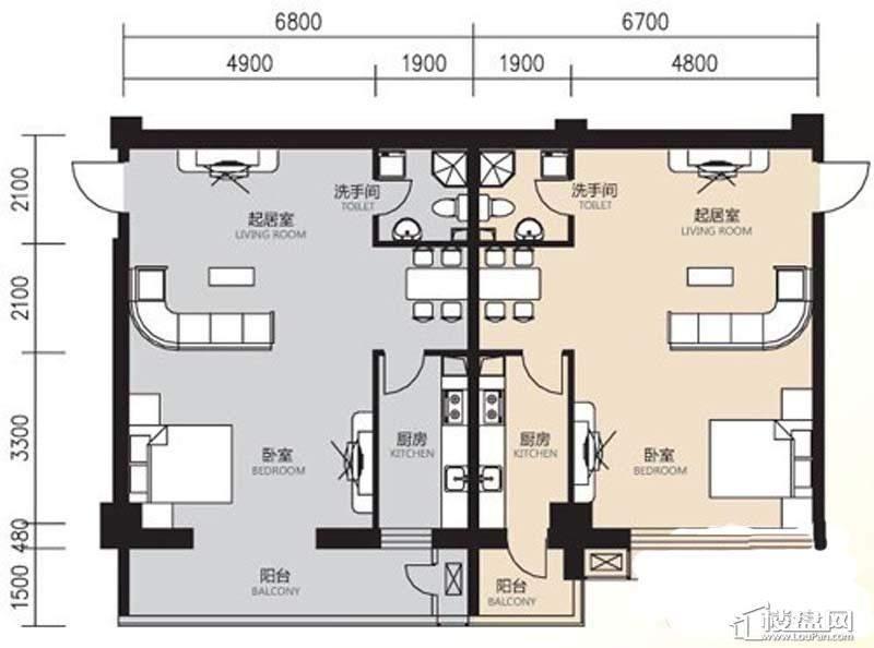 曙光大厦D户型1室1厅1卫1厨