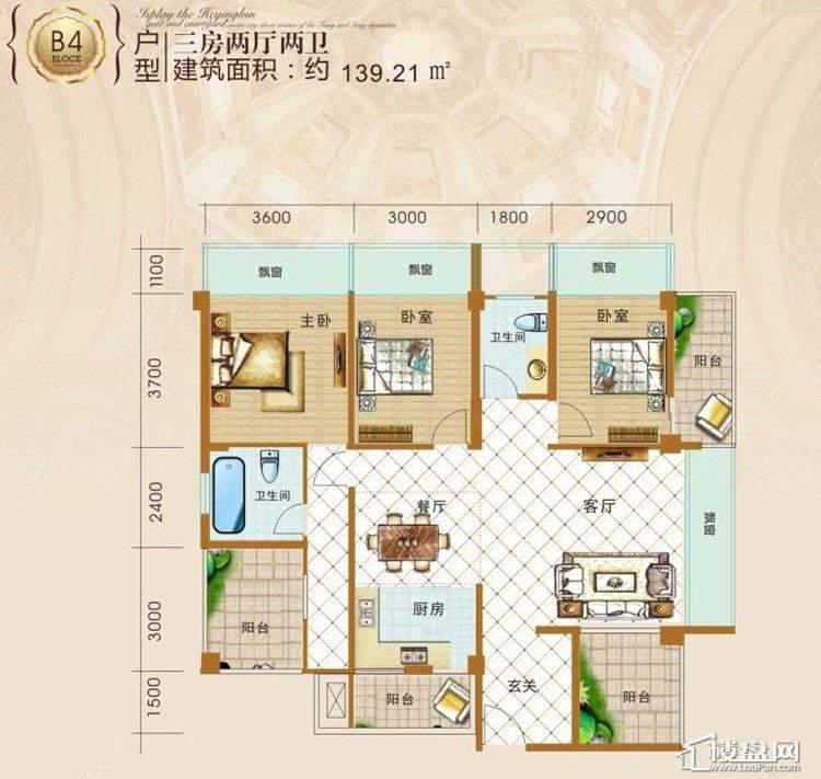 明都锦绣花园户型图139.21