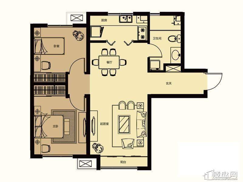 一期高层标准层A户型2室2厅1卫1厨