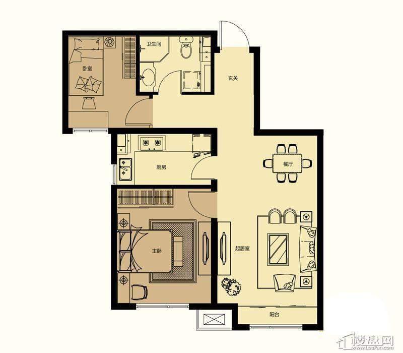 一期高层标准层B户型2室2厅1卫1厨