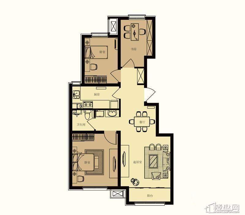 一期洋房标准层A1户型3室2厅1卫1厨