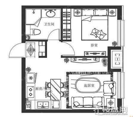 万科春河里1和5号楼55㎡ 一室二厅一卫1室2厅1卫1厨