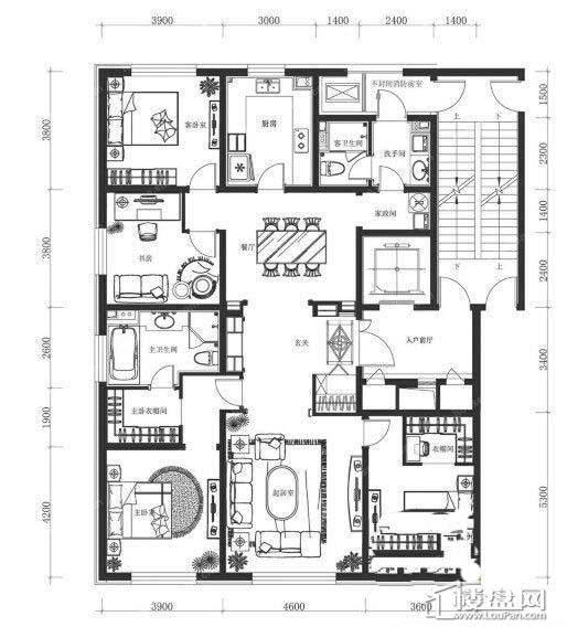 万科春河里4号和7号楼206㎡ 四室二厅二卫4室2厅2卫1厨