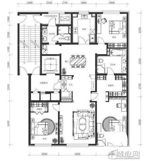 万科春河里4号和7号楼中间户型200㎡ 三室二厅二卫3室2厅2卫1厨