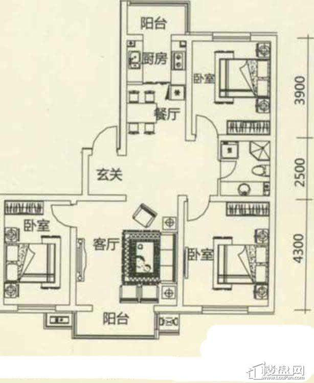 西湖俪景户型图3室2厅1卫1厨