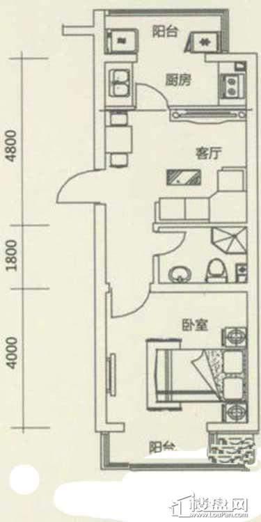 西湖俪景户型图1室1厅1卫1厨