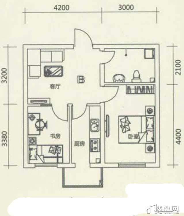西湖俪景户型图2室1厅1卫1厨