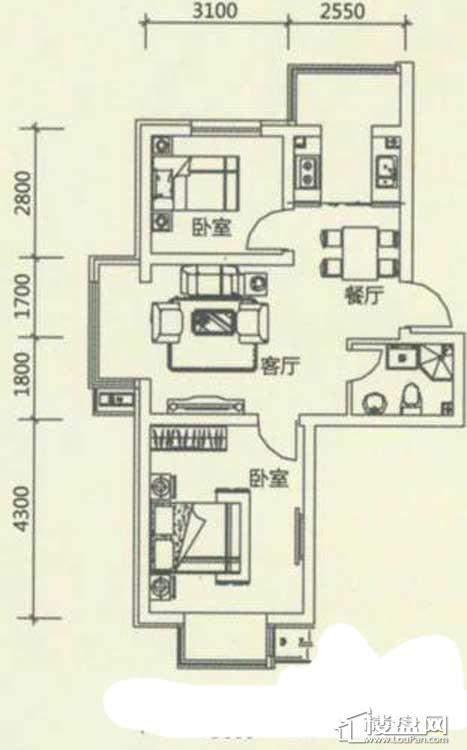 西湖俪景户型图2室2厅1卫1厨