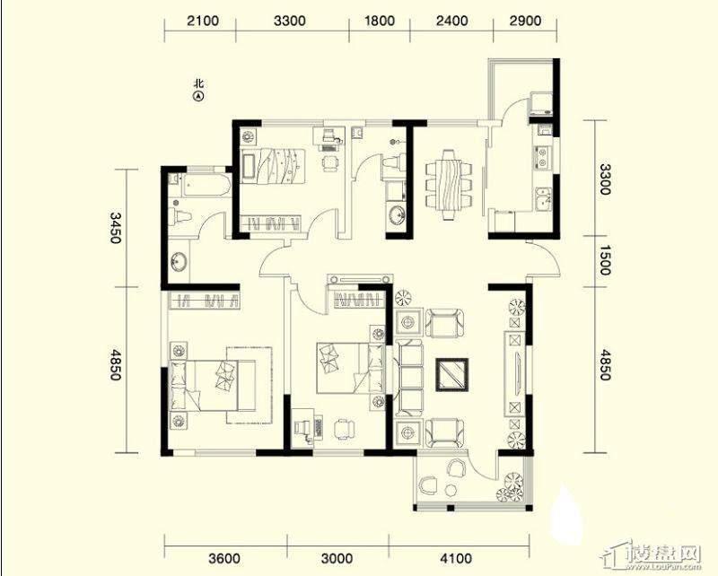 二期1、4号楼标准层C户型3室2厅1卫1厨