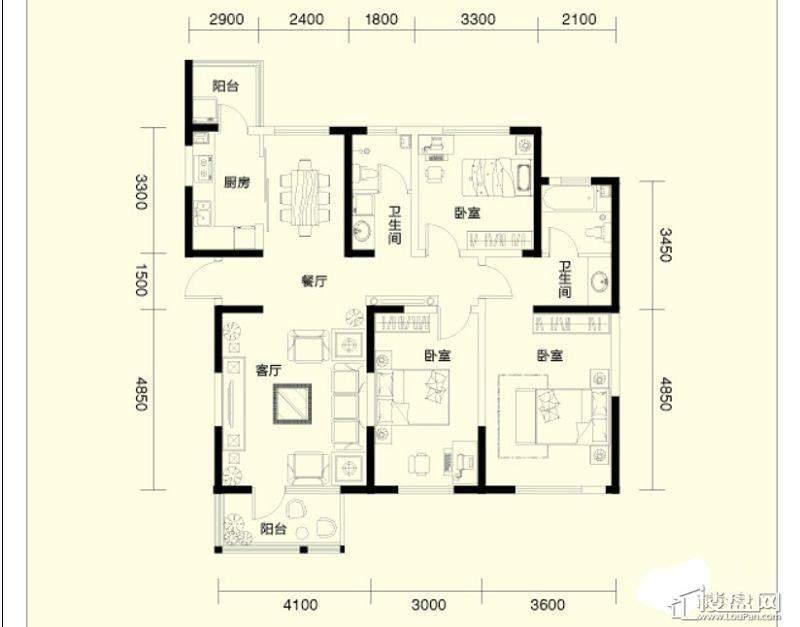 二期1、4号楼标准层D户型3室2厅1卫1厨