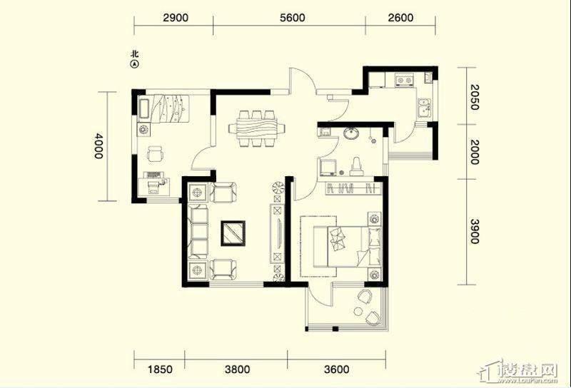 二期1、4号楼标准层E户型2室2厅1卫1厨