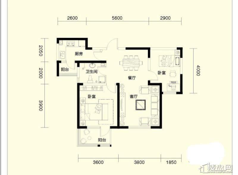 二期1、4号楼标准层F户型2室2厅1卫1厨