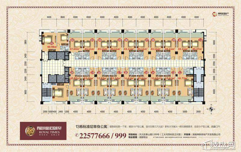 单身公寓户型图