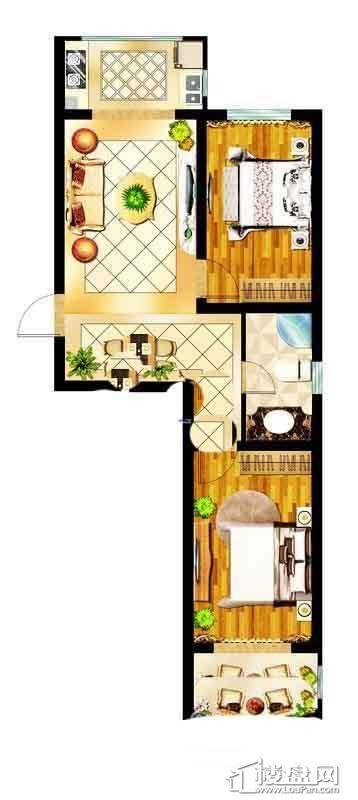浑河国际城A户型约70-78㎡二室二厅一卫2室2厅1卫1厨
