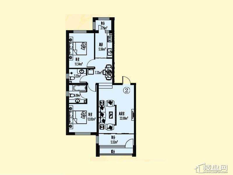 萧乡明珠C户型图2室2厅2卫1厨