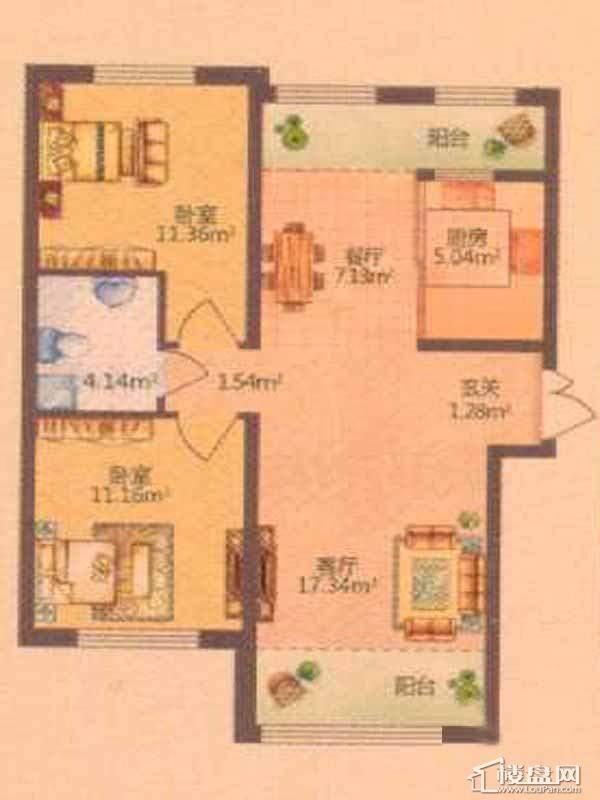 保利清华颐园D户型图2室2厅1卫1厨