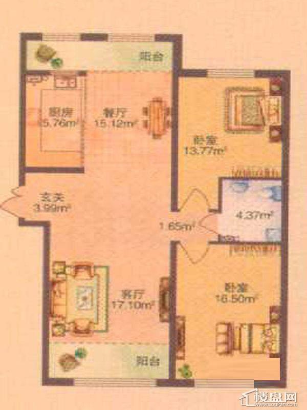 保利清华颐园F户型图2室2厅1卫1厨
