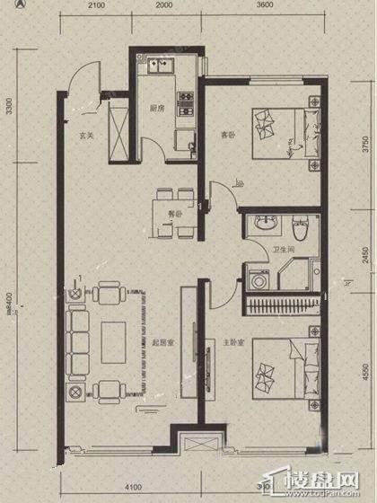 万科朗润园B户型2室2厅1卫