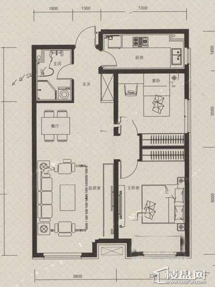 万科朗润园C户型2室2厅1卫