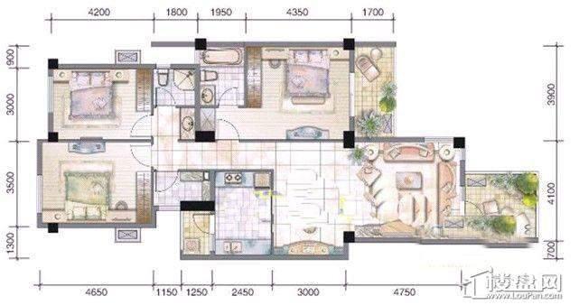 万科朗润园H2户型3室2厅2卫