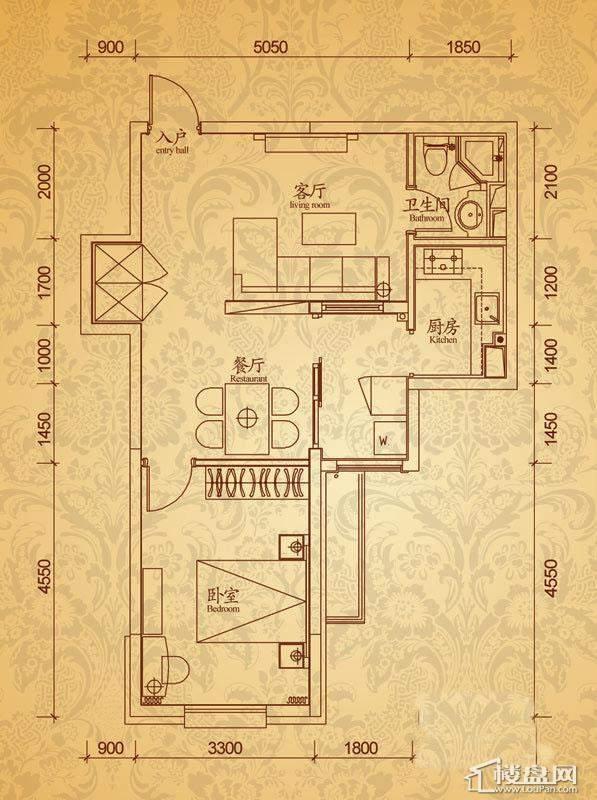 沈阳雅宾利花园B2户型1室2厅1卫